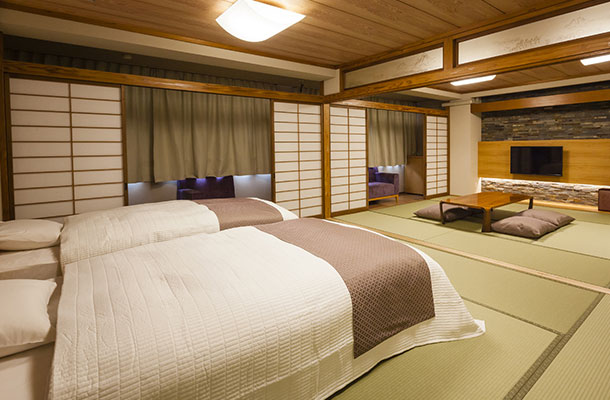 【和モダン】和室+ツインベッドルーム+広縁(禁煙)70㎡