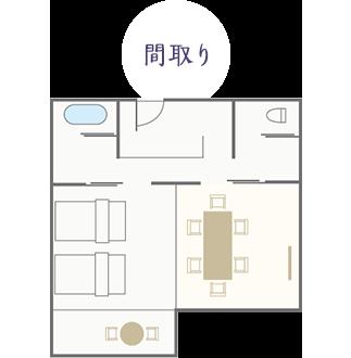 【和モダン】和室+ツインベッドルーム+広縁(禁煙)70㎡ 間取り